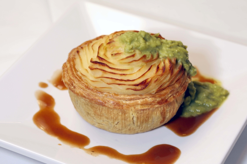 Australia - Beef Pie with Mashed Potato, Mashed Peas and Gravy $60