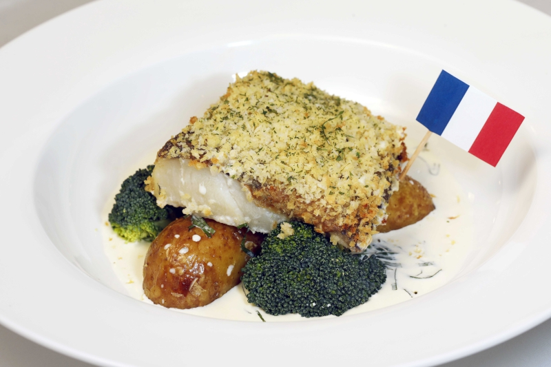France - Oven-baked Cod Provencal, served with New Potatoes and Sorrel Sauce $85