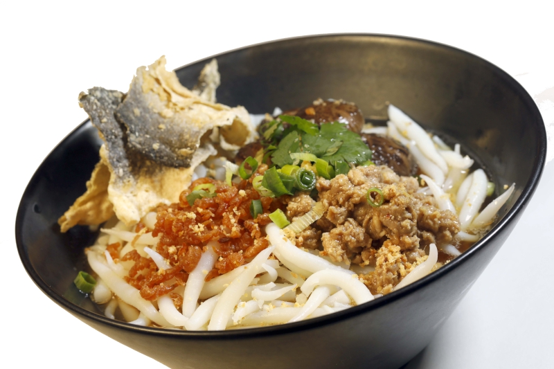 HK - Soup Rice Noodles with Chinese Dried Mushrooms, Minced Pork, Dried Shrimps and Crispy Fish Skin $45