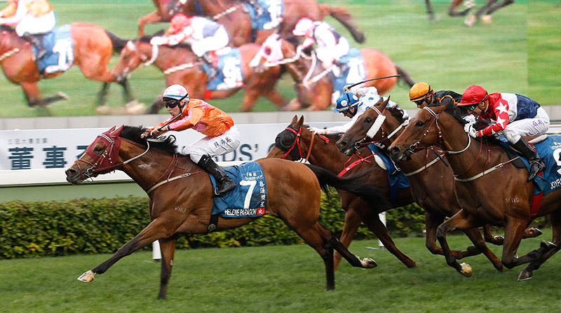 John Moore-trained Helene Paragon(No. 7), with Tommy Berry on board, wins the G1 Stewards' Cup (1600m), first leg of Triple Crown 2017, at Sha Tin Racecourse.