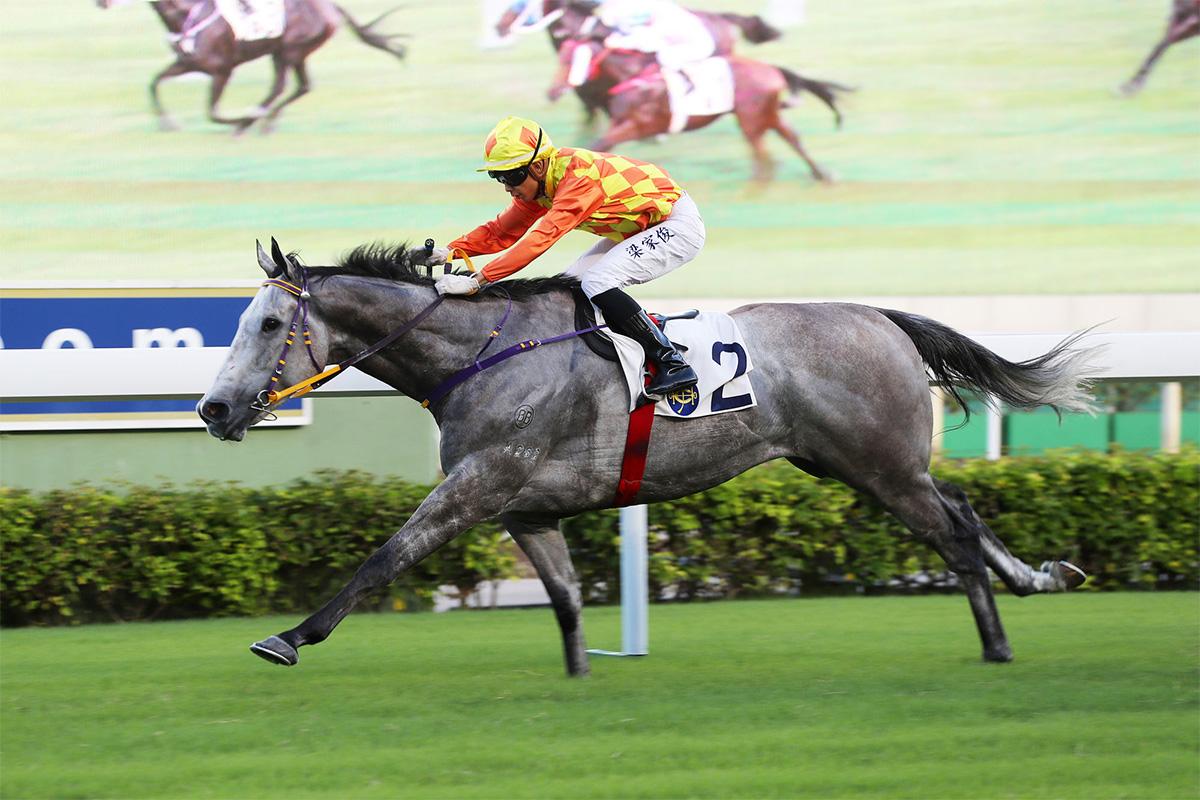 Pingwu Spark notches his first win in Hong Kong in the Class 3 Chaozhou Handicap.