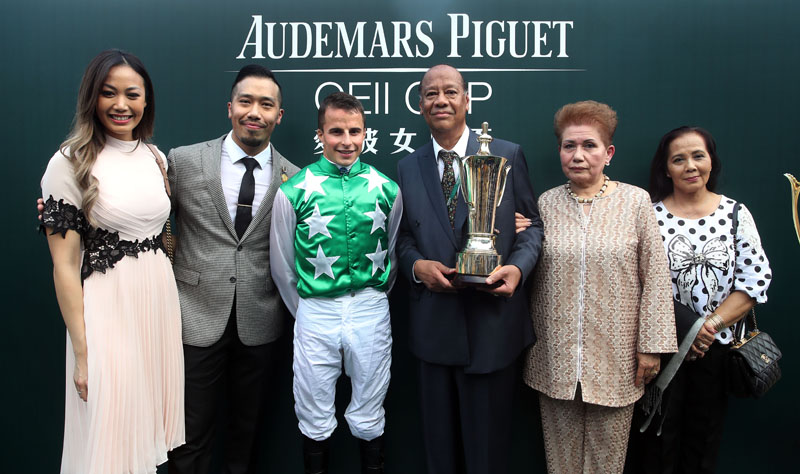 Connections of Audemars Piguet QEII Cup winner Pakistan Star celebrate their success.