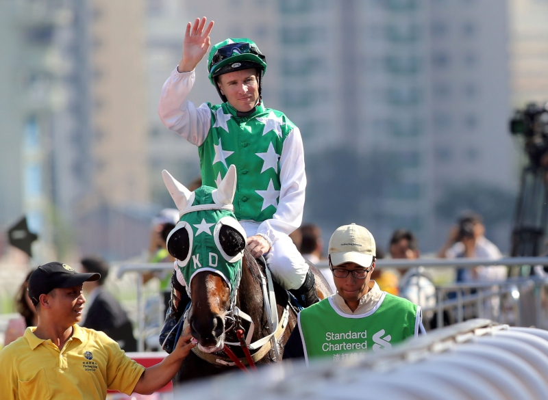 Tommy Berry salutes the crowd after the victory.