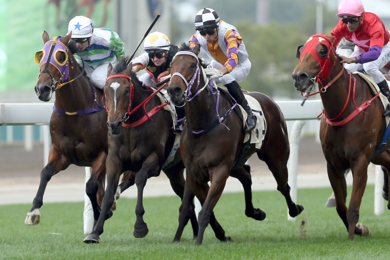 Zac Purton drives Solar Wai Wai (white cap, red bridle) to victory.