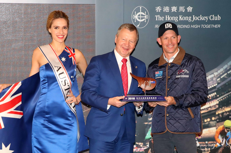 The Club's Chief Executive Officer Mr. Winfried Engelbrecht-Bresges presents mini saddles to each participating jockey, including Ryan Moore (Britain) (Photo 2), Hugh Bowman (Australia) (photo 3), Javier Castellano (USA) (photo 4) and Yutaka Take (Japan) (Photo 5).