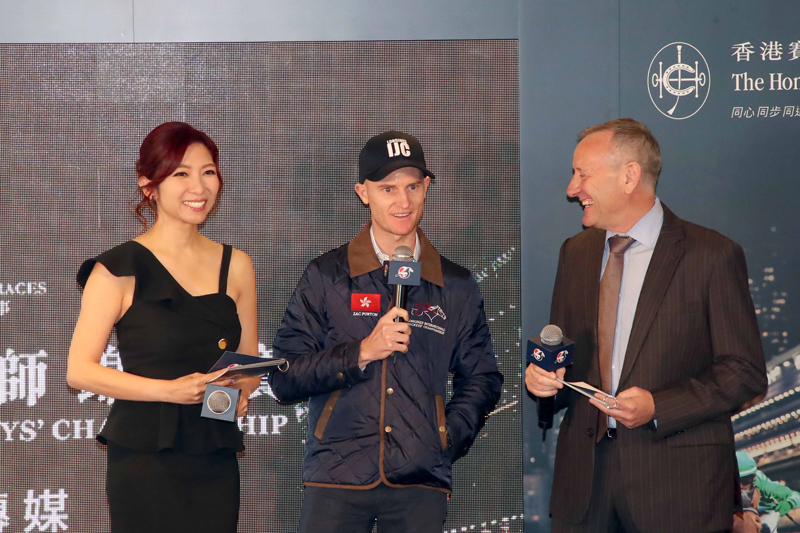 Jockeys Zac Purton (photo 6) and Vincent Ho Chak-yiu (photo 7), representing Hong Kong, speak at the media photo call.
