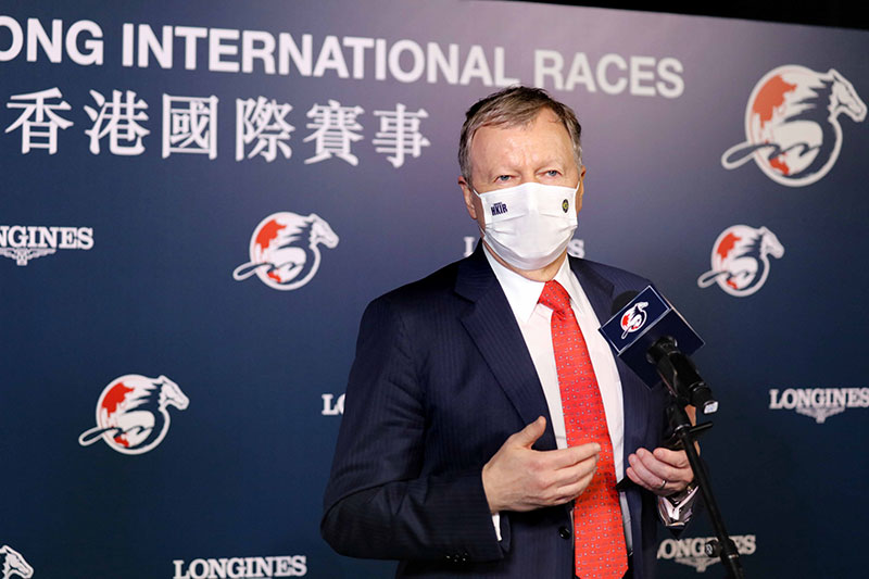 Hong Kong Jockey Club Chief Executive Officer Winfried Engelbrecht-Bresges briefs the press following the LONGINES Hong Kong International Races.