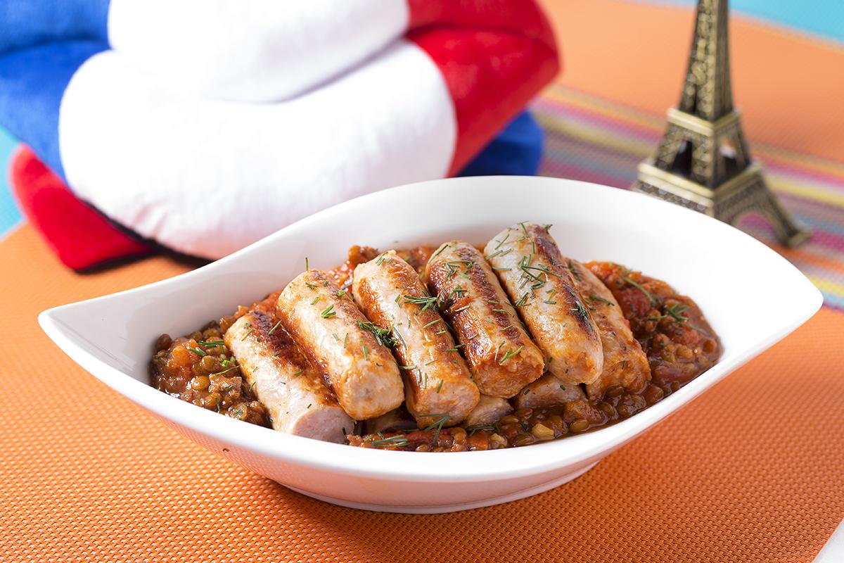 直布羅陀香腸配小扁豆