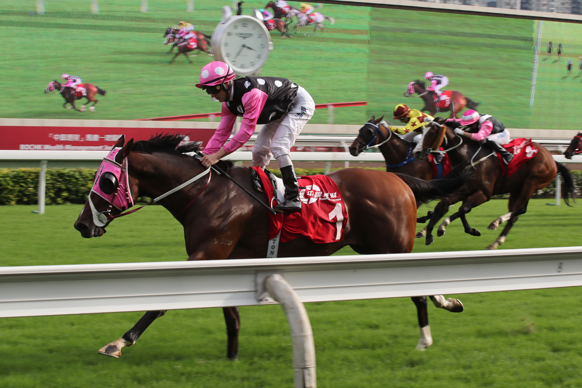 Reigning Horse of the Year Beauty Generation again shows his prowess with a track-record win in the G2 BOCHK Wealth Management Jockey Club Mile at Sha Tin today.