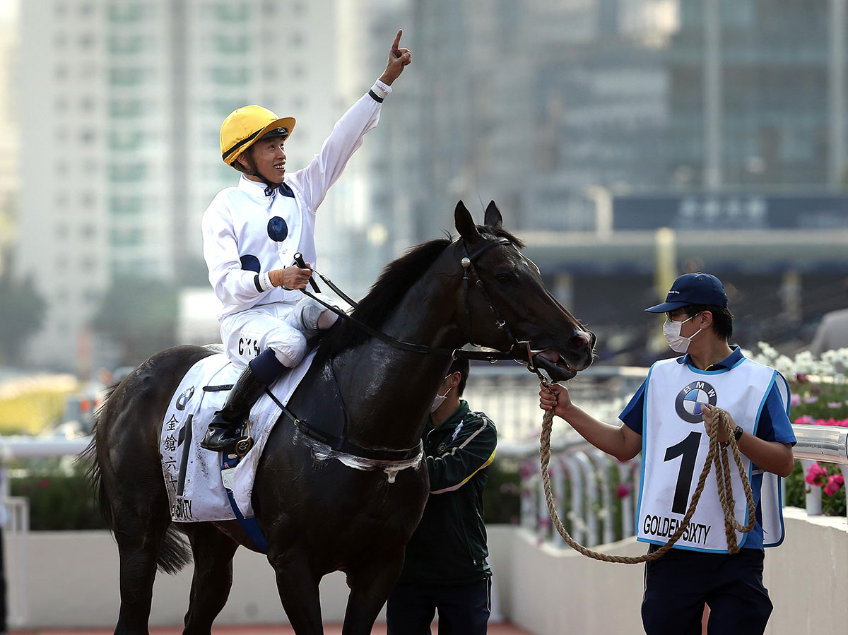 Vincent Ho celebrates Golden Sixty's victory.