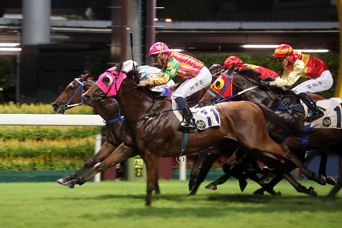 Winston's Lad (nearside) nicks the win under Vincent Ho.