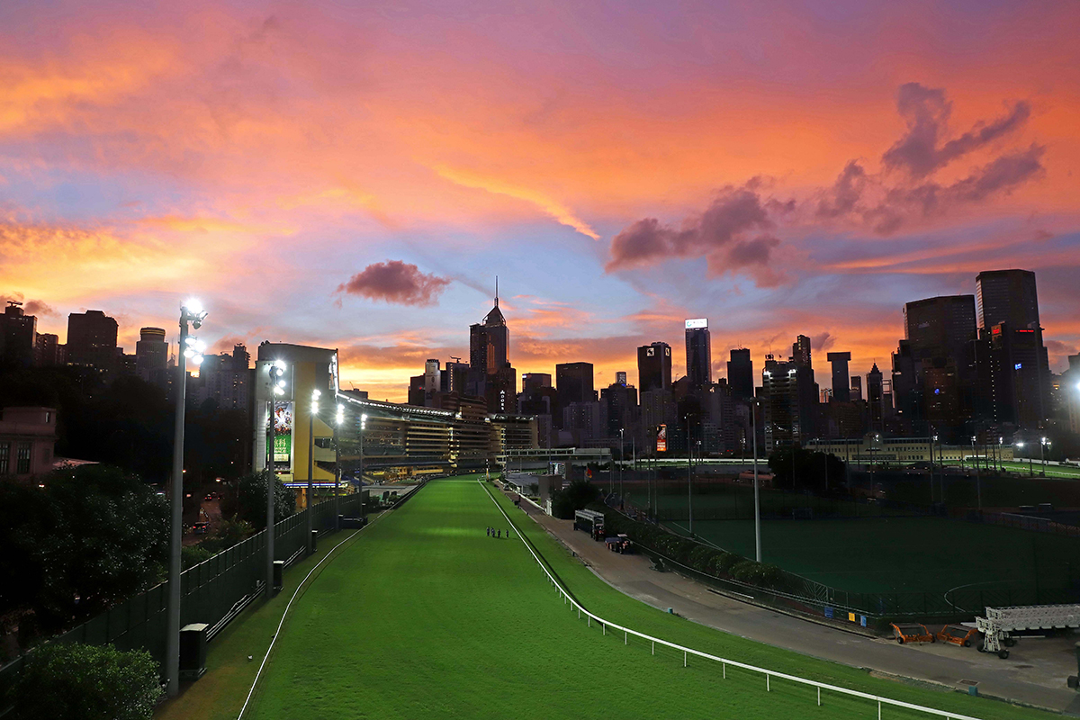 The sun sets over Happy Valley as the Hong Kong season comes to a close.