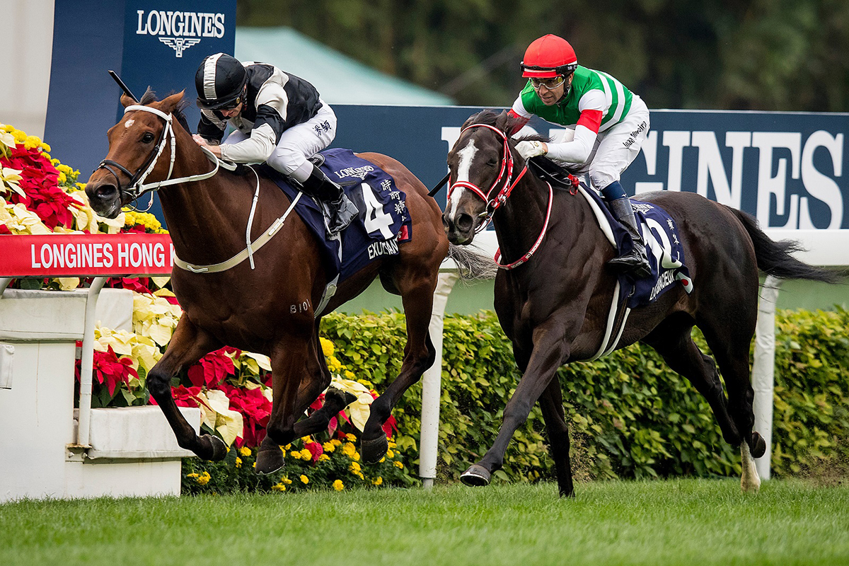 Exultant (inside) narrowly edges Lys Gracieux in the LONGINES Hong Kong Vase.
