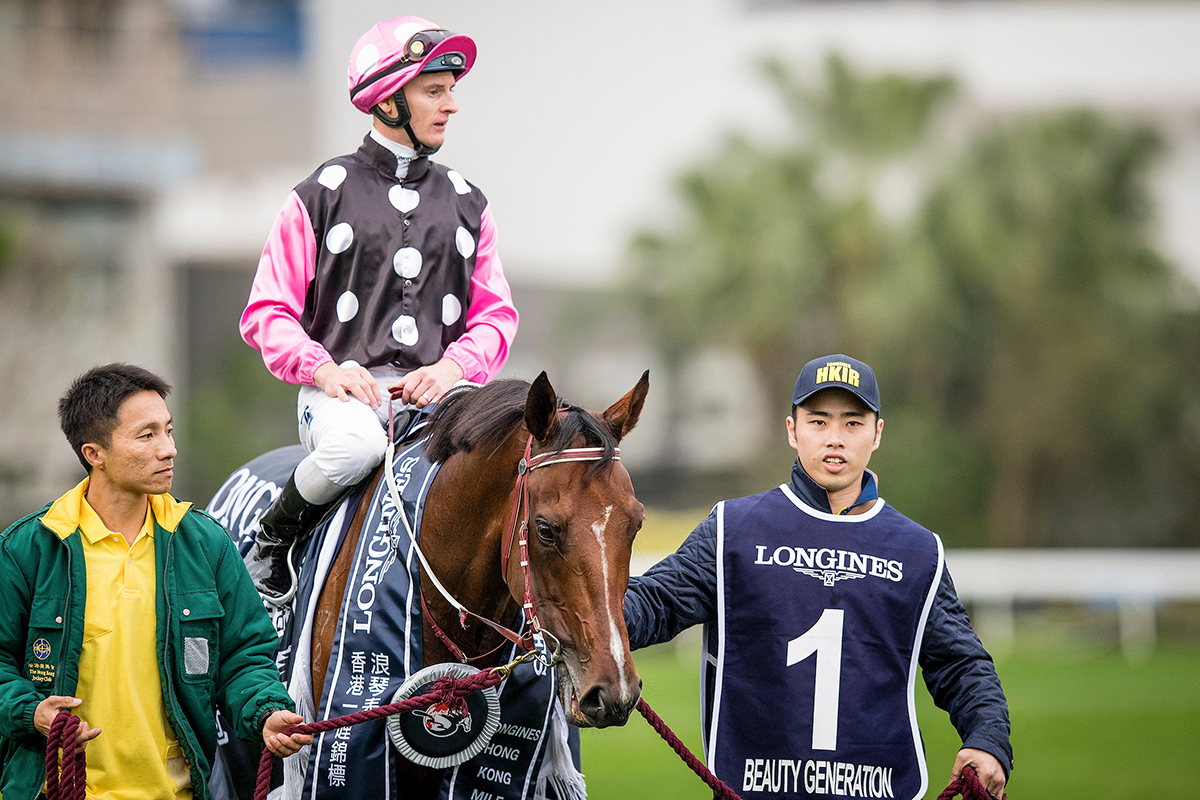 Lau Wai Kit (right) leads Beauty Generation after his 2018 Hong Kong Mile triumph.