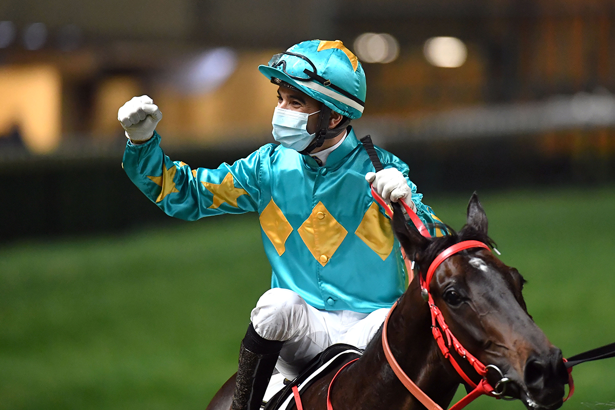 Joao Moreira celebrates his 1000th Hong Kong win.