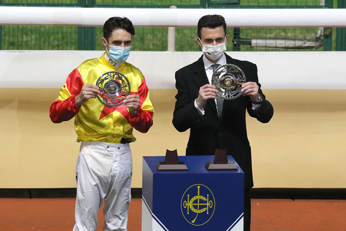 Douglas Whyte and Christophe Soumillon at the trophy presentation.