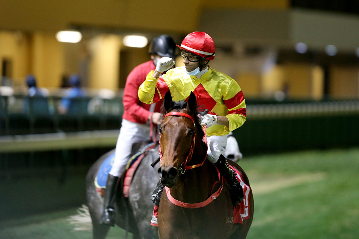 Moreira celebrates the win of Wealthy Delight.